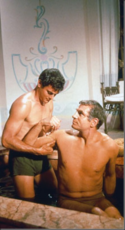 tony curtis antoninus bathes w marcus licinius spartacus